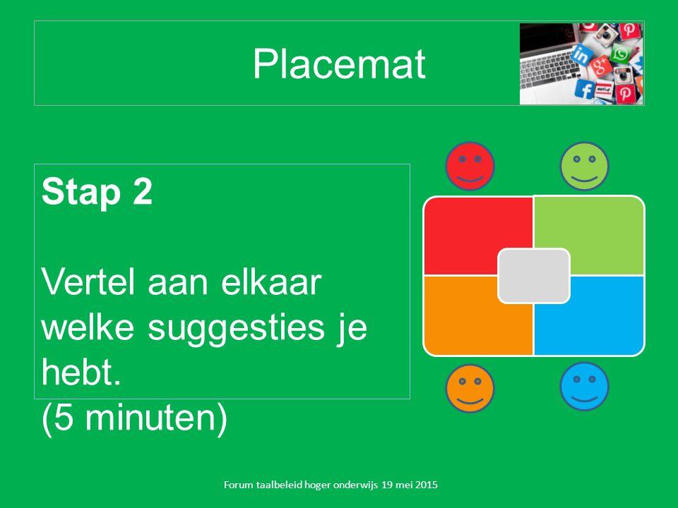 Placemat Forum taalbeleid hoger onderwijs 19 mei 2015 Stap 2 Vertel aan elkaar welke suggesties je hebt.