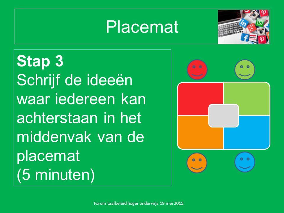 Placemat Forum taalbeleid hoger onderwijs 19 mei 2015 Stap 3 Schrijf de ideeën waar iedereen kan achterstaan in het middenvak van de placemat (5 minuten)