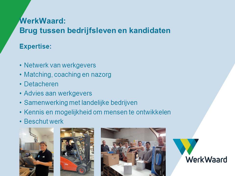 WerkWaard: Brug tussen bedrijfsleven en kandidaten Expertise: Netwerk van werkgevers Matching, coaching en nazorg Detacheren Advies aan werkgevers Samenwerking met landelijke bedrijven Kennis en mogelijkheid om mensen te ontwikkelen Beschut werk