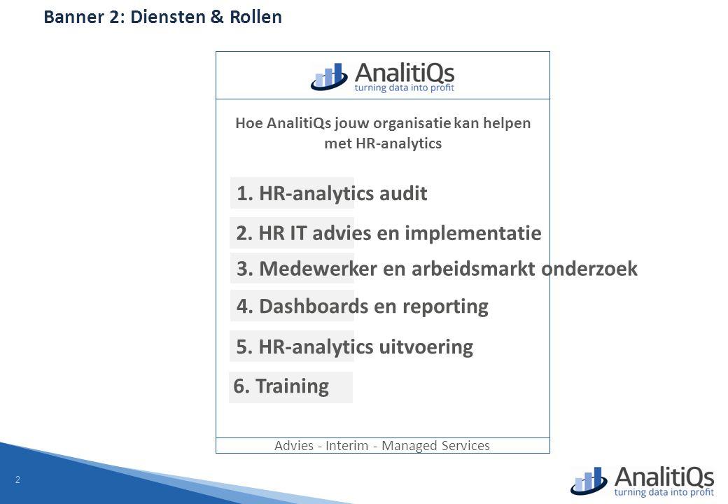 2 Banner 2: Diensten & Rollen Advies - Interim - Managed Services Hoe AnalitiQs jouw organisatie kan helpen met HR-analytics 1.
