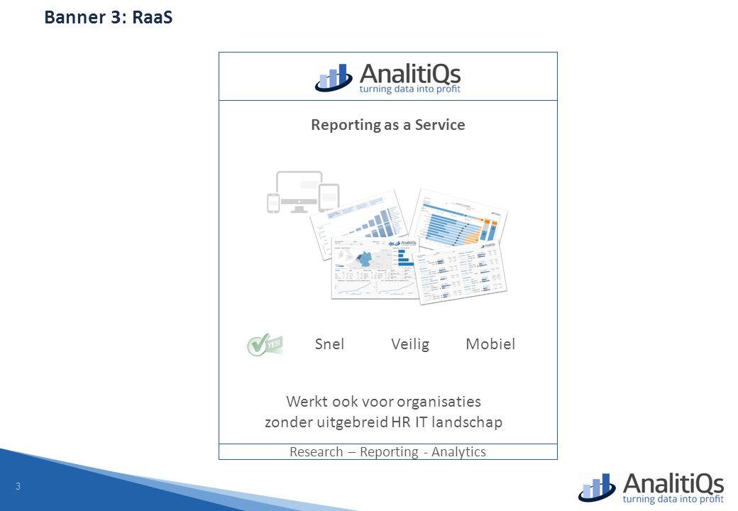 3 Banner 3: RaaS Research – Reporting - Analytics Reporting as a Service SnelVeiligMobiel Werkt ook voor organisaties zonder uitgebreid HR IT landschap