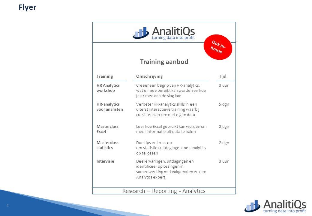 4 Flyer Research – Reporting - Analytics Training aanbod TrainingOmschrijvingTijd HR Analytics workshop Creëer een begrip van HR-analytics, wat er mee bereikt kan worden en hoe je er mee aan de slag kan 3 uur HR-analytics voor analisten Verbeter HR-analytics skills in een uiterst interactieve training waarbij cursisten werken met eigen data 5 dgn Masterclass Excel Leer hoe Excel gebruikt kan worden om meer informatie uit data te halen 2 dgn Masterclass statistics Doe tips en trucs op om statistiek uitdagingen met analytics op te lossen 2 dgn IntervisieDeel ervaringen, uitdagingen en identificeer oplossingen in samenwerking met vakgenoten en een Analytics expert.