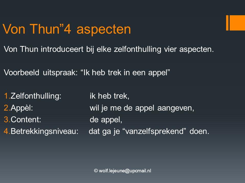 """© wolf.lejeune@upcmail.nl Von Thun""""4 aspecten Von Thun introduceert bij elke zelfonthulling vier aspecten. Voorbeeld uitspraak: """"Ik heb trek in een ap"""