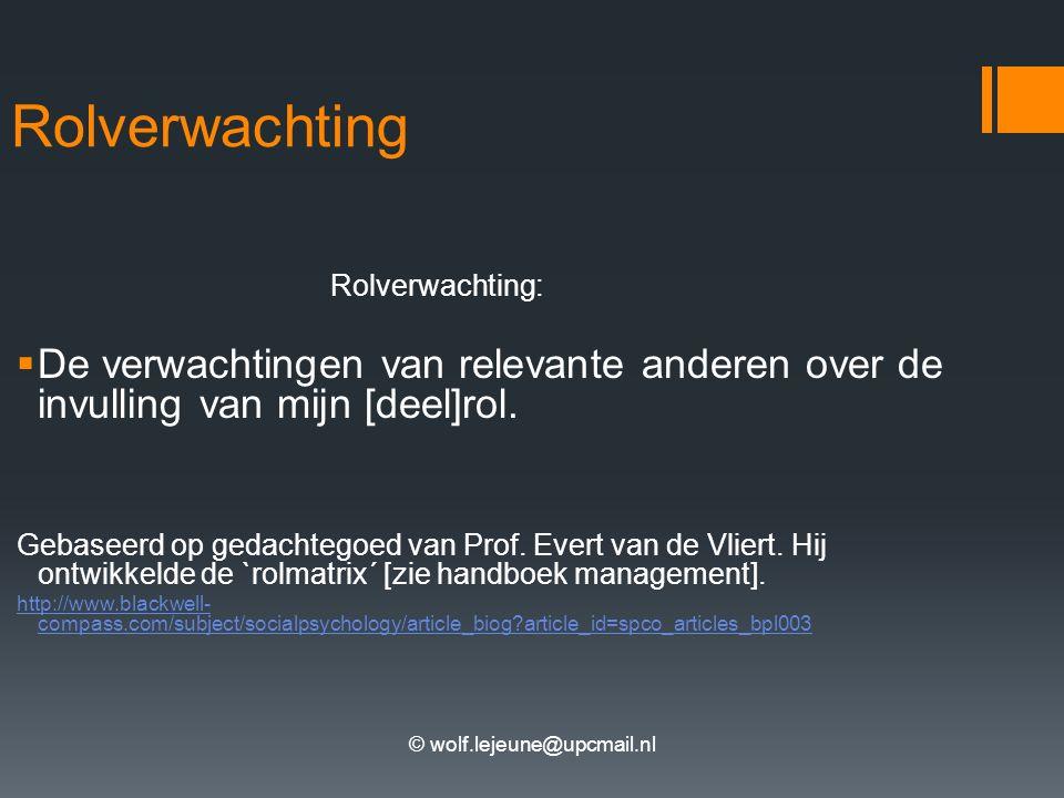 © wolf.lejeune@upcmail.nl Rolverwachting Rolverwachting:  De verwachtingen van relevante anderen over de invulling van mijn [deel]rol. Gebaseerd op g