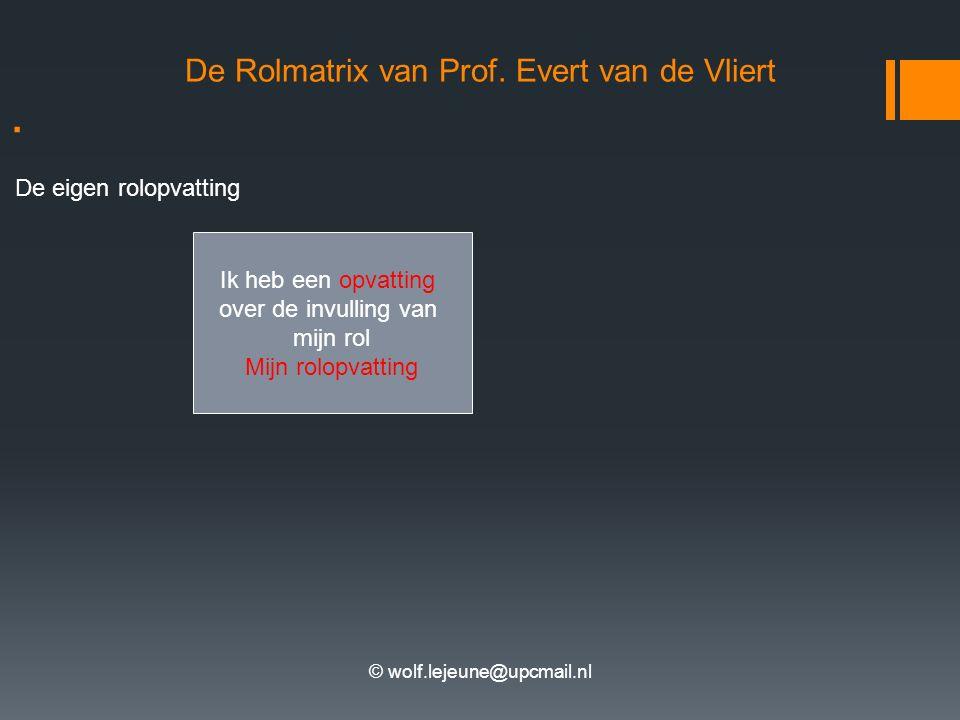 © wolf.lejeune@upcmail.nl. De eigen rolopvatting De Rolmatrix van Prof. Evert van de Vliert Ik heb een opvatting over de invulling van mijn rol Mijn r