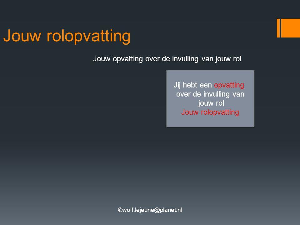 ©wolf.lejeune@planet.nl Jouw rolopvatting Jouw opvatting over de invulling van jouw rol Jij hebt een opvatting over de invulling van jouw rol Jouw rol