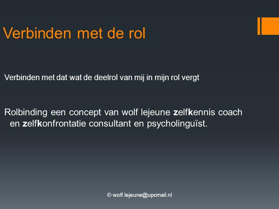 © wolf.lejeune@upcmail.nl Verbinden met de rol Verbinden met dat wat de deelrol van mij in mijn rol vergt Rolbinding een concept van wolf lejeune zelfkennis coach en zelfkonfrontatie consultant en psycholinguïst.