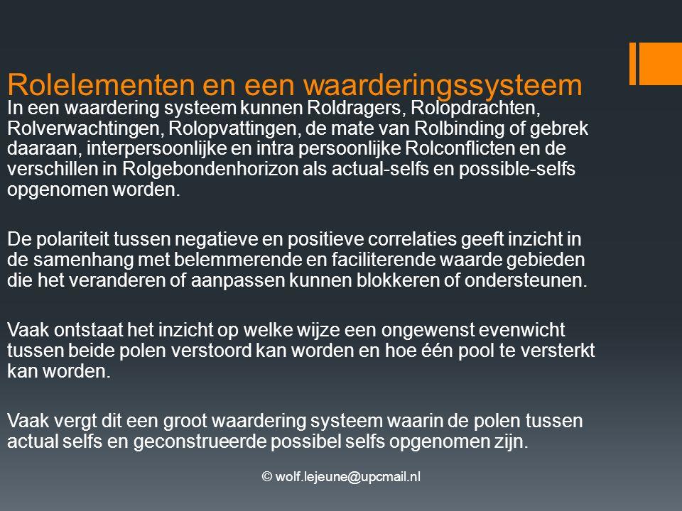 © wolf.lejeune@upcmail.nl Rolelementen en een waarderingssysteem In een waardering systeem kunnen Roldragers, Rolopdrachten, Rolverwachtingen, Rolopvattingen, de mate van Rolbinding of gebrek daaraan, interpersoonlijke en intra persoonlijke Rolconflicten en de verschillen in Rolgebondenhorizon als actual-selfs en possible-selfs opgenomen worden.