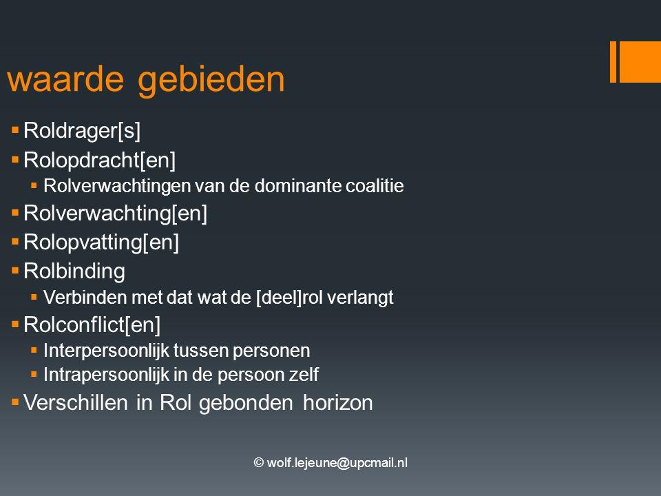 © wolf.lejeune@upcmail.nl waarde gebieden  Roldrager[s]  Rolopdracht[en]  Rolverwachtingen van de dominante coalitie  Rolverwachting[en]  Rolopvatting[en]  Rolbinding  Verbinden met dat wat de [deel]rol verlangt  Rolconflict[en]  Interpersoonlijk tussen personen  Intrapersoonlijk in de persoon zelf  Verschillen in Rol gebonden horizon