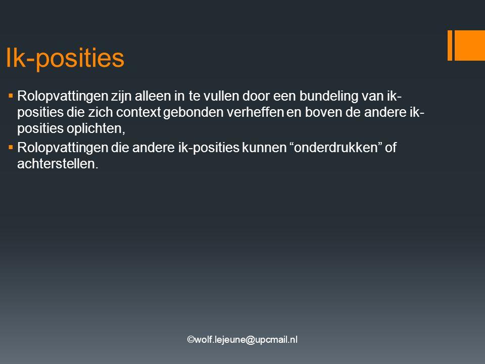 ©wolf.lejeune@upcmail.nl Ik-posities  Rolopvattingen zijn alleen in te vullen door een bundeling van ik- posities die zich context gebonden verheffen