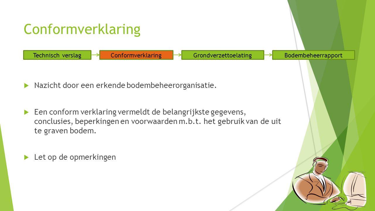 Conformverklaring  Nazicht door een erkende bodembeheerorganisatie.