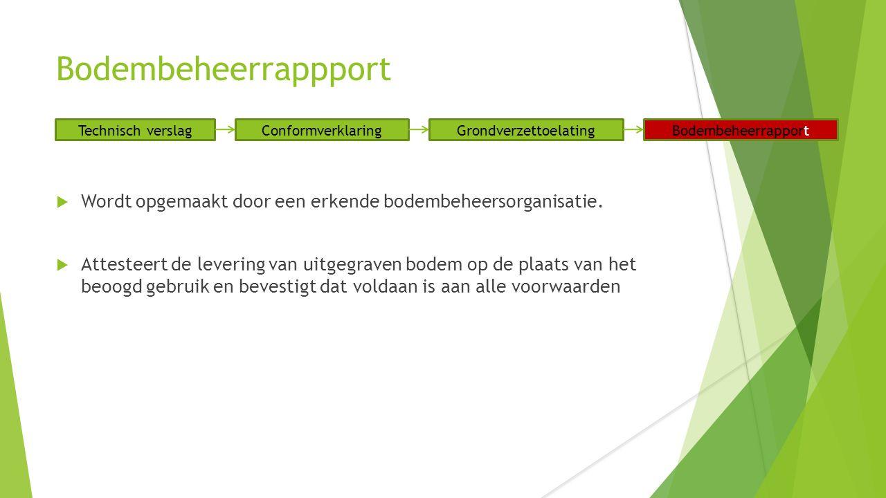 Bodembeheerrappport  Wordt opgemaakt door een erkende bodembeheersorganisatie.