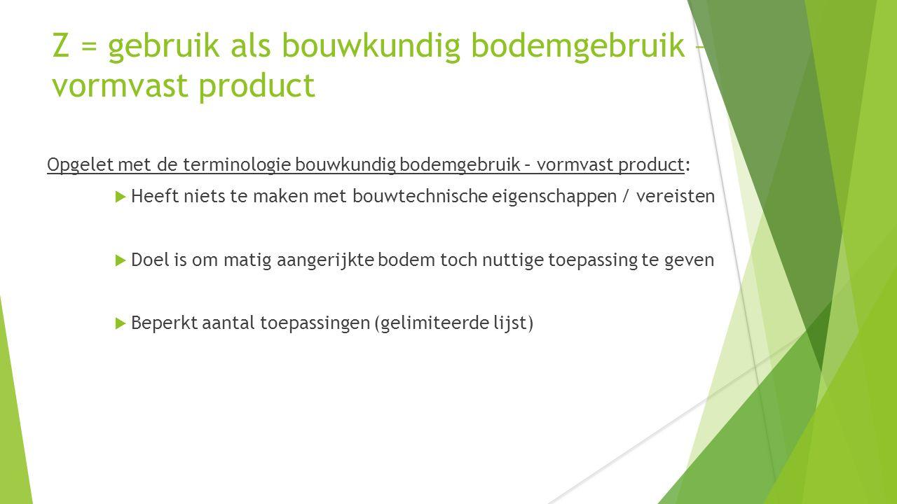 Z = gebruik als bouwkundig bodemgebruik – vormvast product Opgelet met de terminologie bouwkundig bodemgebruik – vormvast product:  Heeft niets te ma