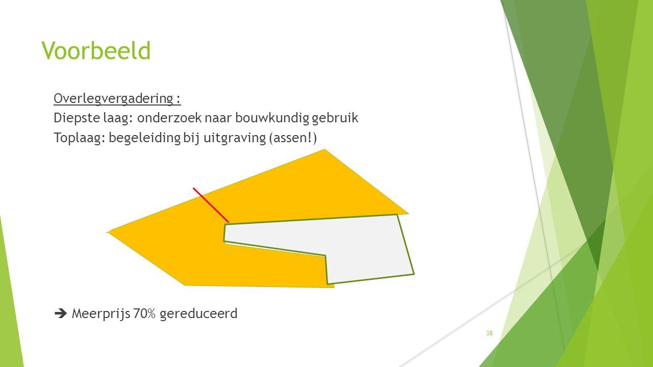 Voorbeeld Overlegvergadering : Diepste laag: onderzoek naar bouwkundig gebruik Toplaag: begeleiding bij uitgraving (assen!)  Meerprijs 70% gereduceerd 38