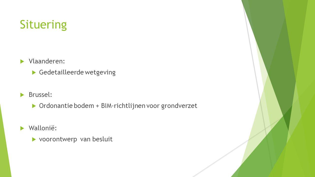 Situering  Vlaanderen:  Gedetailleerde wetgeving  Brussel:  Ordonantie bodem + BIM-richtlijnen voor grondverzet  Wallonië:  voorontwerp van besluit