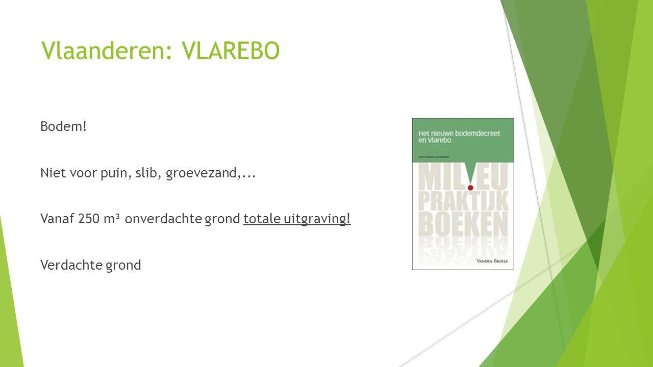 Vlaanderen: VLAREBO Bodem! Niet voor puin, slib, groevezand,... Vanaf 250 m³ onverdachte grond totale uitgraving! Verdachte grond