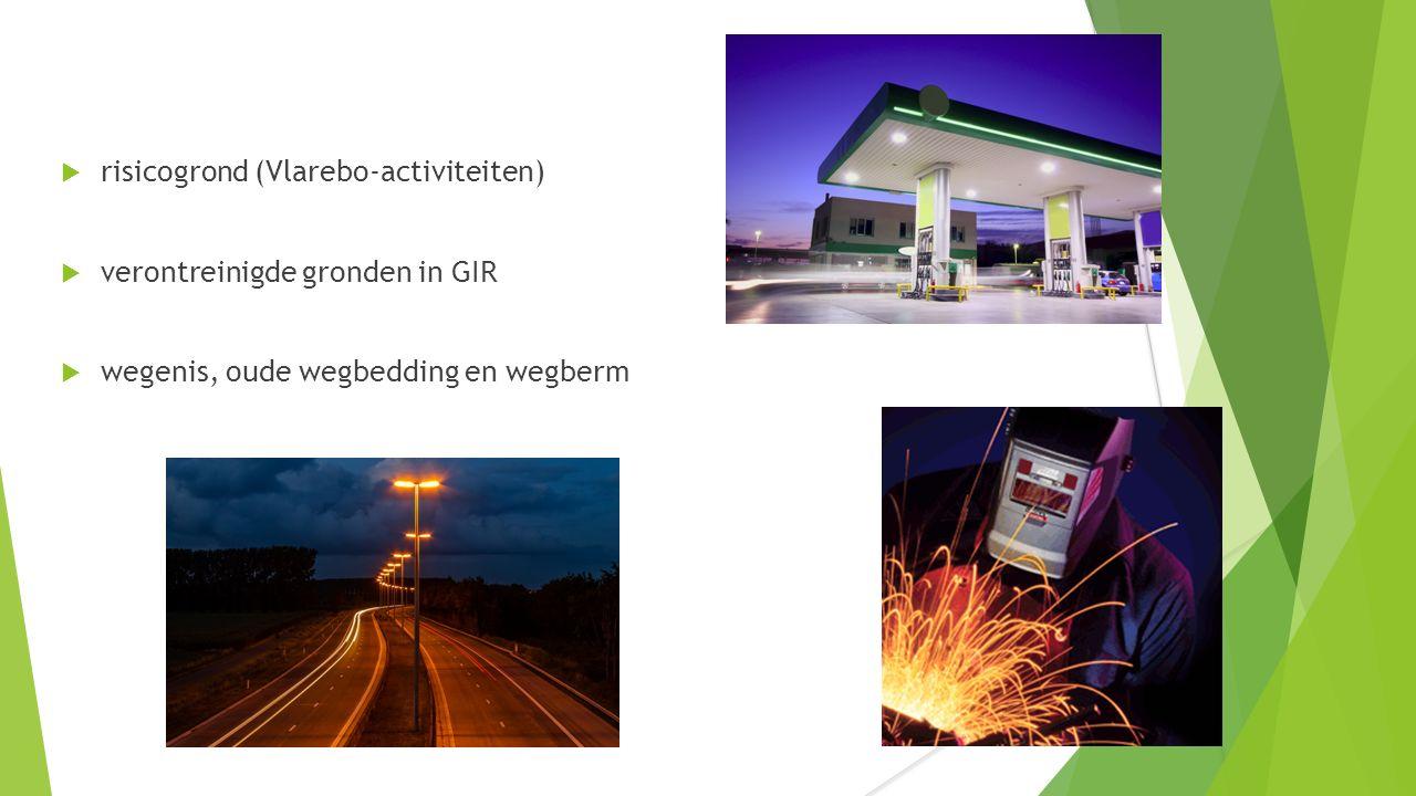  risicogrond (Vlarebo-activiteiten)  verontreinigde gronden in GIR  wegenis, oude wegbedding en wegberm