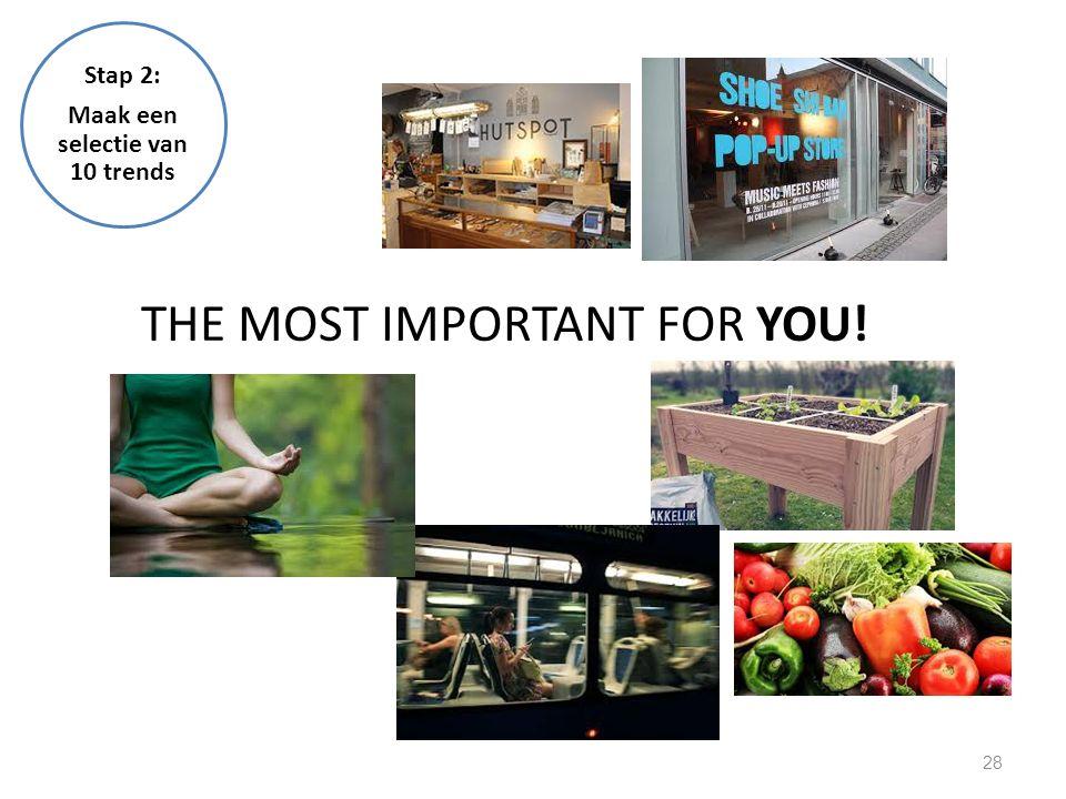 28 THE MOST IMPORTANT FOR YOU! Stap 2: Maak een selectie van 10 trends