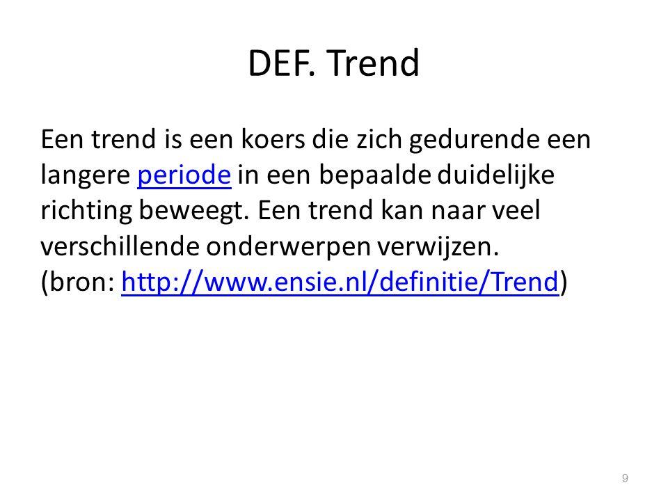 DEF. Trend Een trend is een koers die zich gedurende een langere periode in een bepaalde duidelijke richting beweegt. Een trend kan naar veel verschil