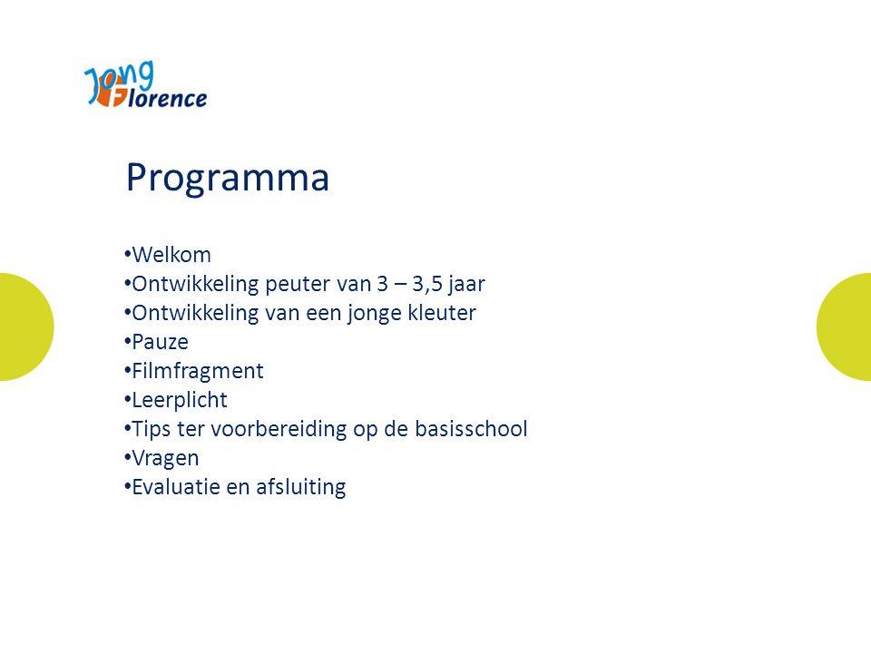 Welkom Ontwikkeling peuter van 3 – 3,5 jaar Ontwikkeling van een jonge kleuter Pauze Filmfragment Leerplicht Tips ter voorbereiding op de basisschool Vragen Evaluatie en afsluiting Programma