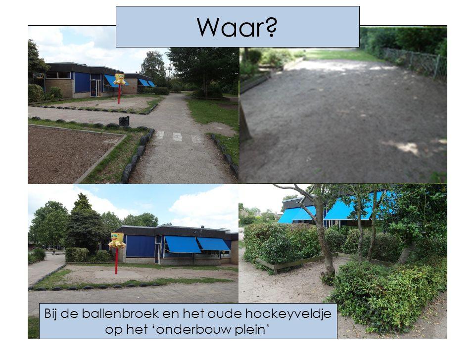 Bij de ballenbroek en het oude hockeyveldje op het 'onderbouw plein' Waar