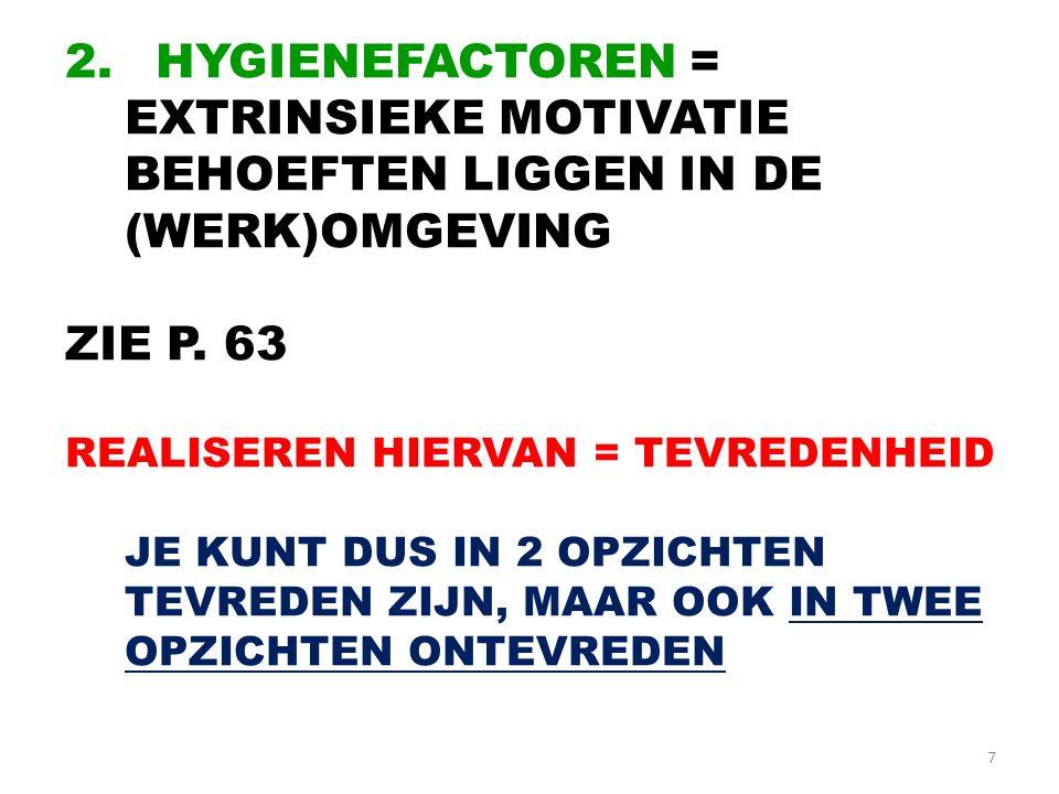 7 2.HYGIENEFACTOREN = EXTRINSIEKE MOTIVATIE BEHOEFTEN LIGGEN IN DE (WERK)OMGEVING ZIE P.