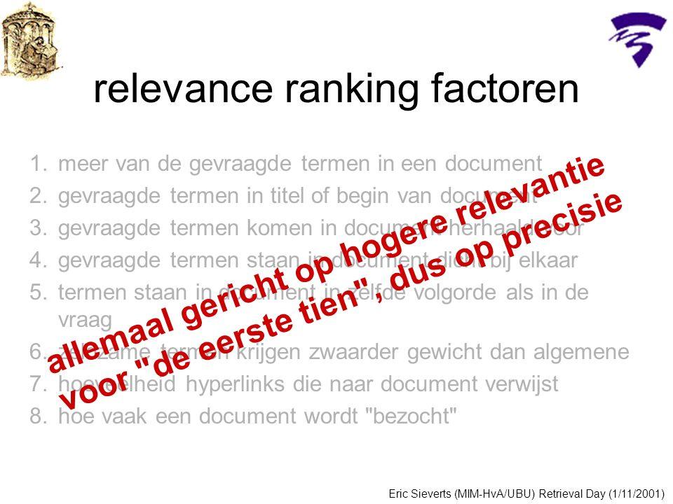 1.meer van de gevraagde termen in een document 2.gevraagde termen in titel of begin van document 3.gevraagde termen komen in document herhaald voor 4.gevraagde termen staan in document dicht bij elkaar 5.termen staan in document in zelfde volgorde als in de vraag 6.zeldzame termen krijgen zwaarder gewicht dan algemene 7.hoeveelheid hyperlinks die naar document verwijst 8.hoe vaak een document wordt bezocht relevance ranking factoren Eric Sieverts (MIM-HvA/UBU) Retrieval Day (1/11/2001) allemaal gericht op hogere relevantie voor de eerste tien , dus op precisie