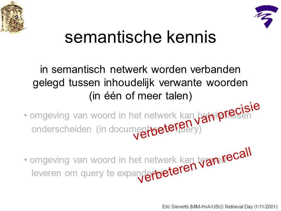 semantische kennis in semantisch netwerk worden verbanden gelegd tussen inhoudelijk verwante woorden (in één of meer talen) omgeving van woord in het netwerk kan betekenissen onderscheiden (in document en in query) omgeving van woord in het netwerk kan termen leveren om query te expanderen Eric Sieverts (MIM-HvA/UBU) Retrieval Day (1/11/2001) verbeteren van precisie verbeteren van recall