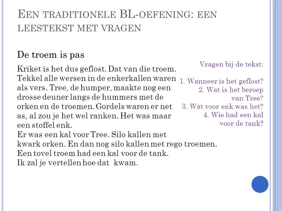 Bron: List Nederlands (vakcomunity docenten Nederlands van de Digischool)) Vragen bij de tekst: 1. Wanneer is het geflost? 2. Wat is het beroep van Tr