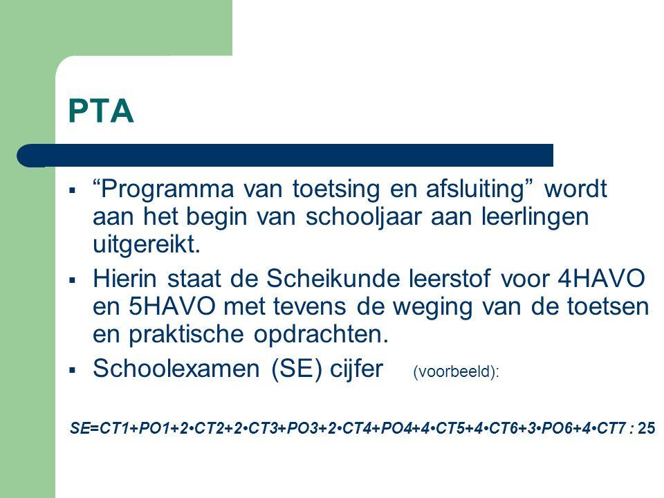 """PTA  """"Programma van toetsing en afsluiting"""" wordt aan het begin van schooljaar aan leerlingen uitgereikt.  Hierin staat de Scheikunde leerstof voor"""