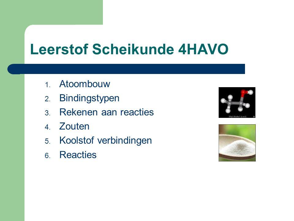 Leerstof Scheikunde 4HAVO 1. Atoombouw 2. Bindingstypen 3. Rekenen aan reacties 4. Zouten 5. Koolstof verbindingen 6. Reacties