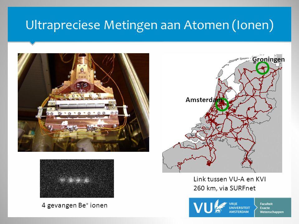 Ultrapreciese Metingen aan Atomen (Ionen) 4 gevangen Be + ionen Amsterdam Groningen Link tussen VU-A en KVI 260 km, via SURFnet