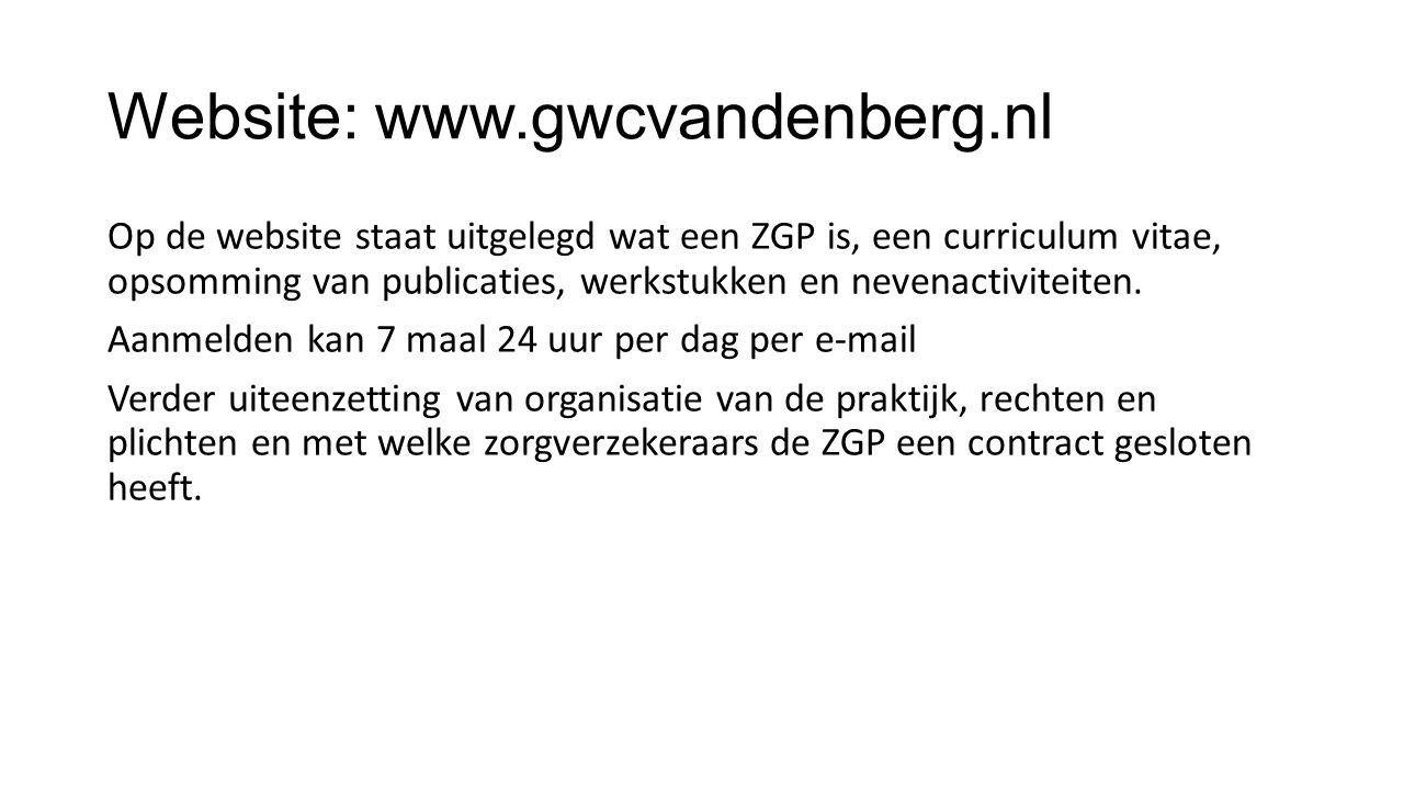Website: www.gwcvandenberg.nl Op de website staat uitgelegd wat een ZGP is, een curriculum vitae, opsomming van publicaties, werkstukken en nevenactiv