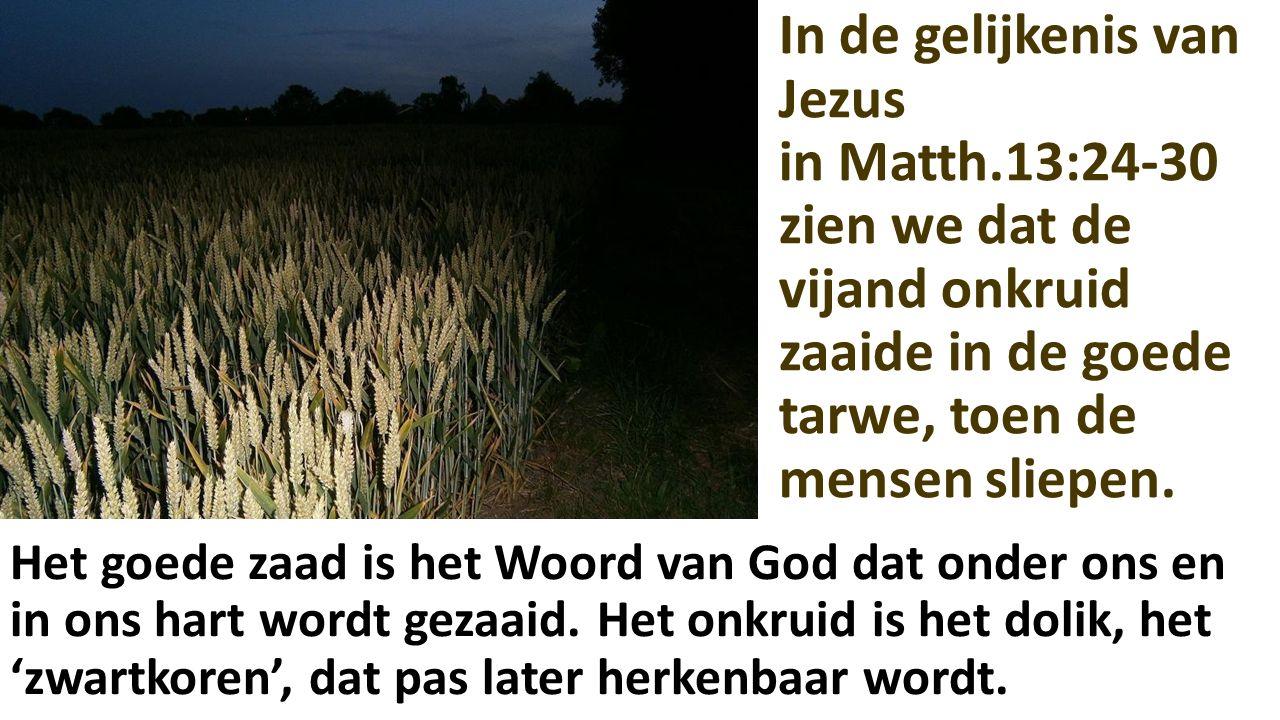 In de gelijkenis van Jezus in Matth.13:24-30 zien we dat de vijand onkruid zaaide in de goede tarwe, toen de mensen sliepen. Het goede zaad is het Woo