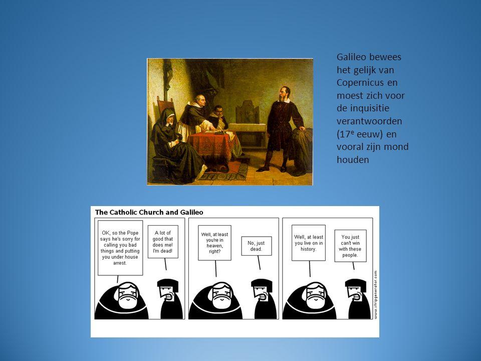 Galileo bewees het gelijk van Copernicus en moest zich voor de inquisitie verantwoorden (17 e eeuw) en vooral zijn mond houden