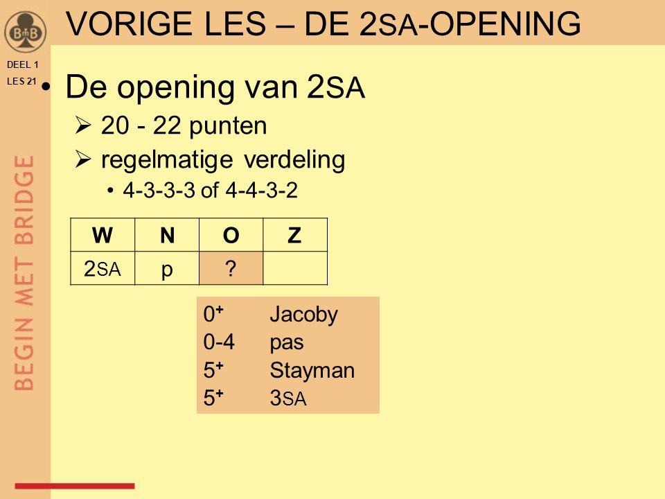 DEEL 1 LES 21 VORIGE LES – DE 2 SA -OPENING WNOZ 2 SA p? De opening van 2 SA  20 - 22 punten  regelmatige verdeling 4-3-3-3 of 4-4-3-2 0 + Jacoby 0-
