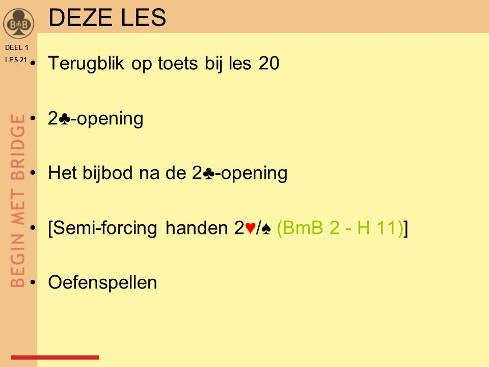 DEEL 1 LES 21 ♠♥♦♣♠♥♦♣ N W O Z WNOZ 2 SA p.