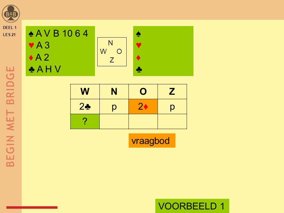 DEEL 1 LES 21 ♠ A V B 10 6 4 ♥ A 3 ♦ A 2 ♣ A H V ♠♥♦♣♠♥♦♣ N W O Z WNOZ 2♣p2♦2♦p ? vraagbod VOORBEELD 1