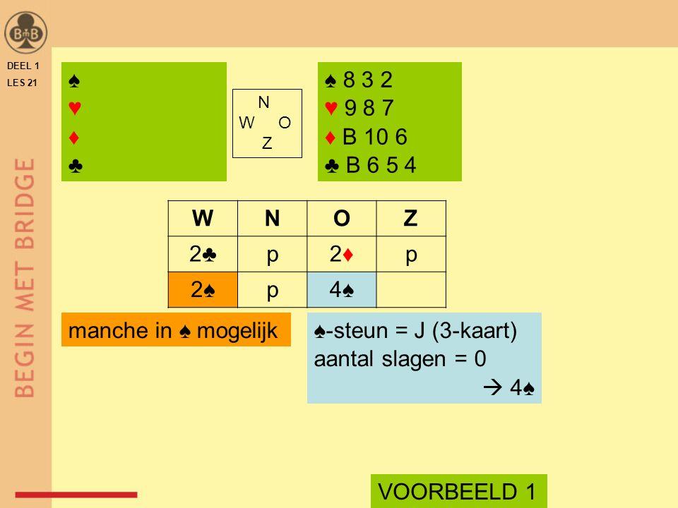 DEEL 1 LES 21 ♠ 8 3 2 ♥ 9 8 7 ♦ B 10 6 ♣ B 6 5 4 N W O Z WNOZ 2♣p2♦2♦p 2♠p4♠ ♠-steun = J (3-kaart) aantal slagen = 0  4♠ manche in ♠ mogelijk ♠♥♦♣♠♥♦