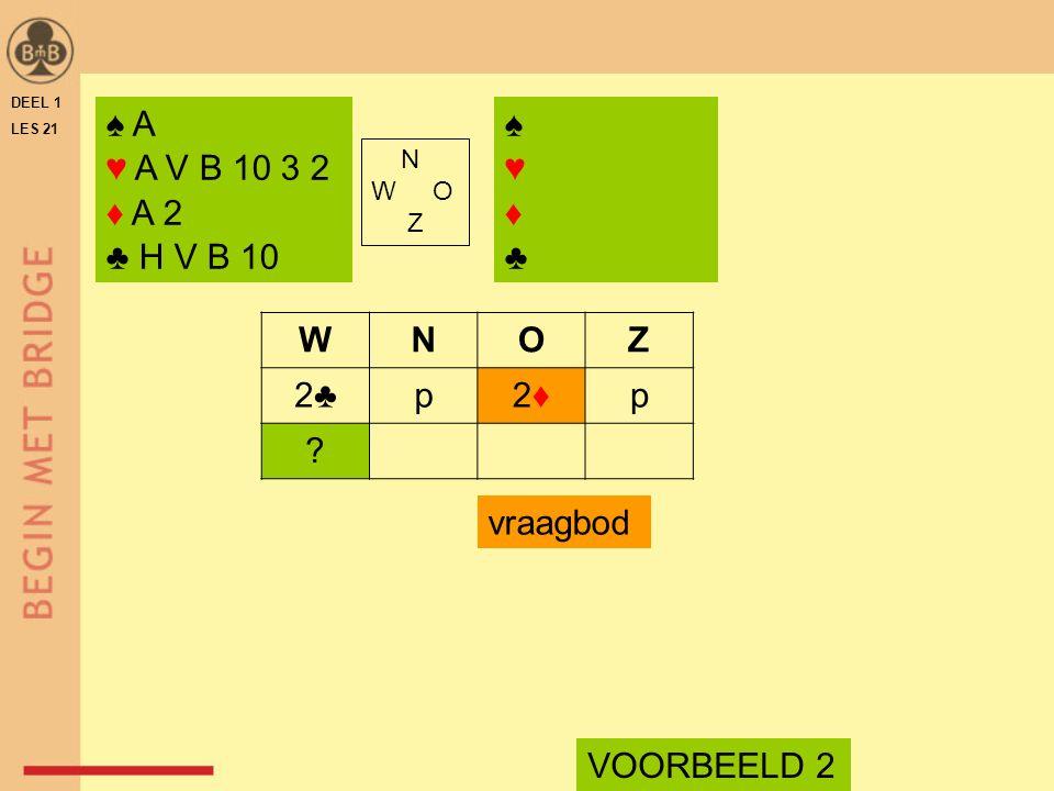 DEEL 1 LES 21 ♠ A ♥ A V B 10 3 2 ♦ A 2 ♣ H V B 10 ♠♥♦♣♠♥♦♣ N W O Z WNOZ 2♣p2♦2♦p ? VOORBEELD 2 vraagbod