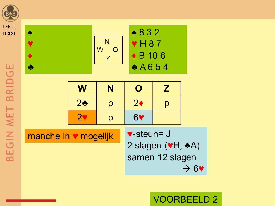 DEEL 1 LES 21 ♠ 8 3 2 ♥ H 8 7 ♦ B 10 6 ♣ A 6 5 4 N W O Z WNOZ 2♣p2♦2♦p 2♥2♥p6♥6♥ ♥-steun= J 2 slagen (♥H, ♣A) samen 12 slagen  6♥ VOORBEELD 2 manche