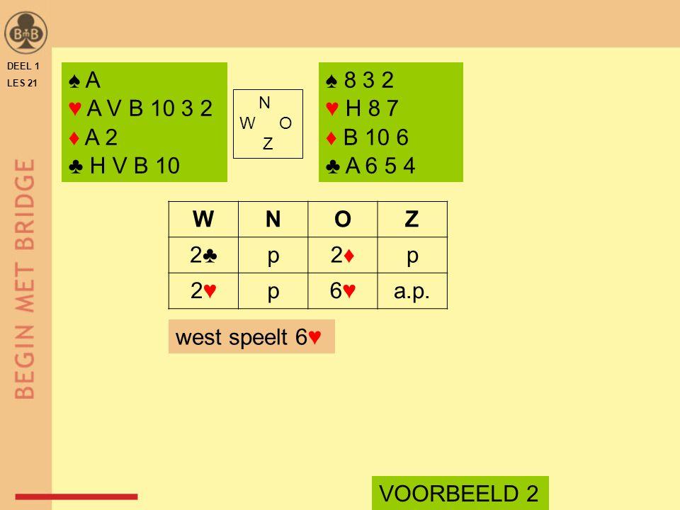 DEEL 1 LES 21 ♠ A ♥ A V B 10 3 2 ♦ A 2 ♣ H V B 10 ♠ 8 3 2 ♥ H 8 7 ♦ B 10 6 ♣ A 6 5 4 N W O Z WNOZ 2♣p2♦2♦p 2♥2♥p6♥6♥a.p. west speelt 6♥ VOORBEELD 2