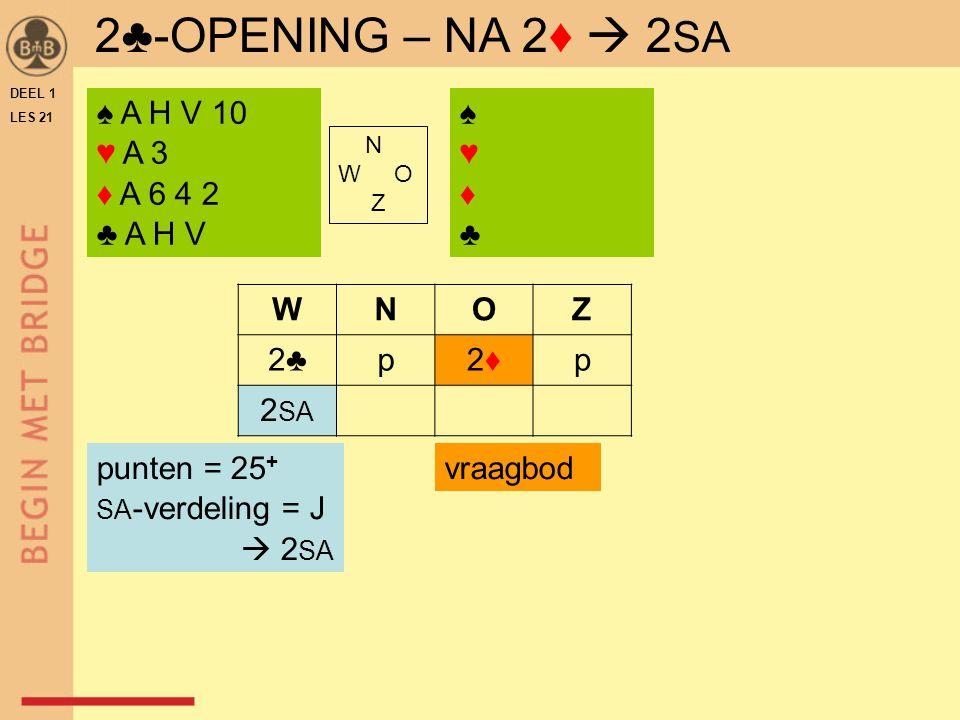 DEEL 1 LES 21 2♣-OPENING – NA 2♦  2 SA ♠ A H V 10 ♥ A 3 ♦ A 6 4 2 ♣ A H V ♠♥♦♣♠♥♦♣ N W O Z WNOZ 2♣p2♦2♦p 2 SA punten = 25 + SA -verdeling = J  2 SA