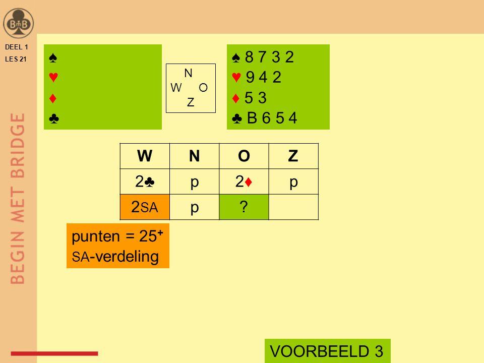 DEEL 1 LES 21 ♠ 8 7 3 2 ♥ 9 4 2 ♦ 5 3 ♣ B 6 5 4 N W O Z WNOZ 2♣p2♦2♦p 2 SA p? VOORBEELD 3 punten = 25 + SA -verdeling ♠♥♦♣♠♥♦♣