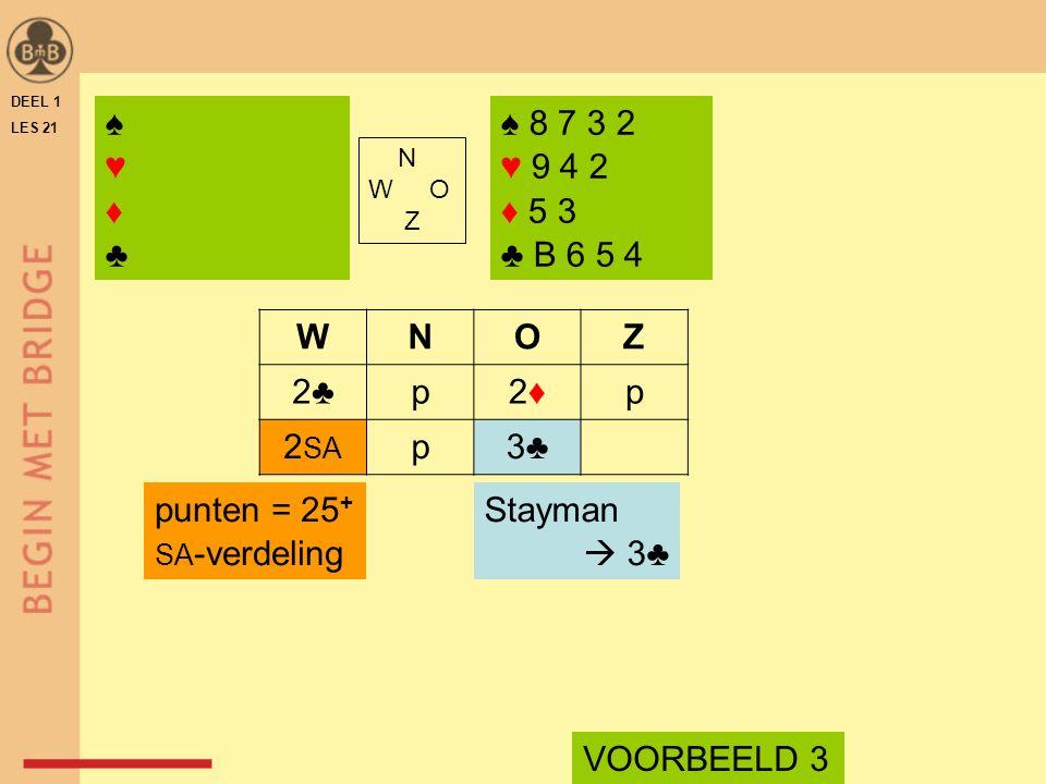 DEEL 1 LES 21 ♠ 8 7 3 2 ♥ 9 4 2 ♦ 5 3 ♣ B 6 5 4 N W O Z WNOZ 2♣p2♦2♦p 2 SA p3♣ Stayman  3♣ VOORBEELD 3 punten = 25 + SA -verdeling ♠♥♦♣♠♥♦♣