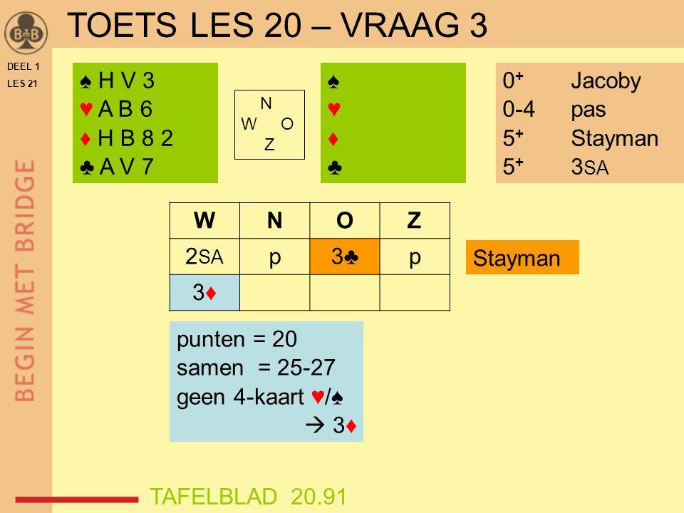 DEEL 1 LES 21 ♠ A 6 4 ♥ A H 3 ♦ A V B 2 ♣ A H 6 TAFELBLADEN 21.81 + 21.82 Zoek de juiste handen bij de gegeven vraag.