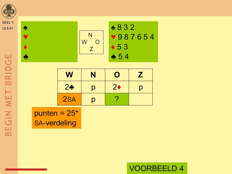 DEEL 1 LES 21 ♠ 8 3 2 ♥ 9 8 7 6 5 4 ♦ 5 3 ♣ 5 4 N W O Z WNOZ 2♣p2♦2♦p 2 SA p? VOORBEELD 4 punten = 25 + SA -verdeling ♠♥♦♣♠♥♦♣