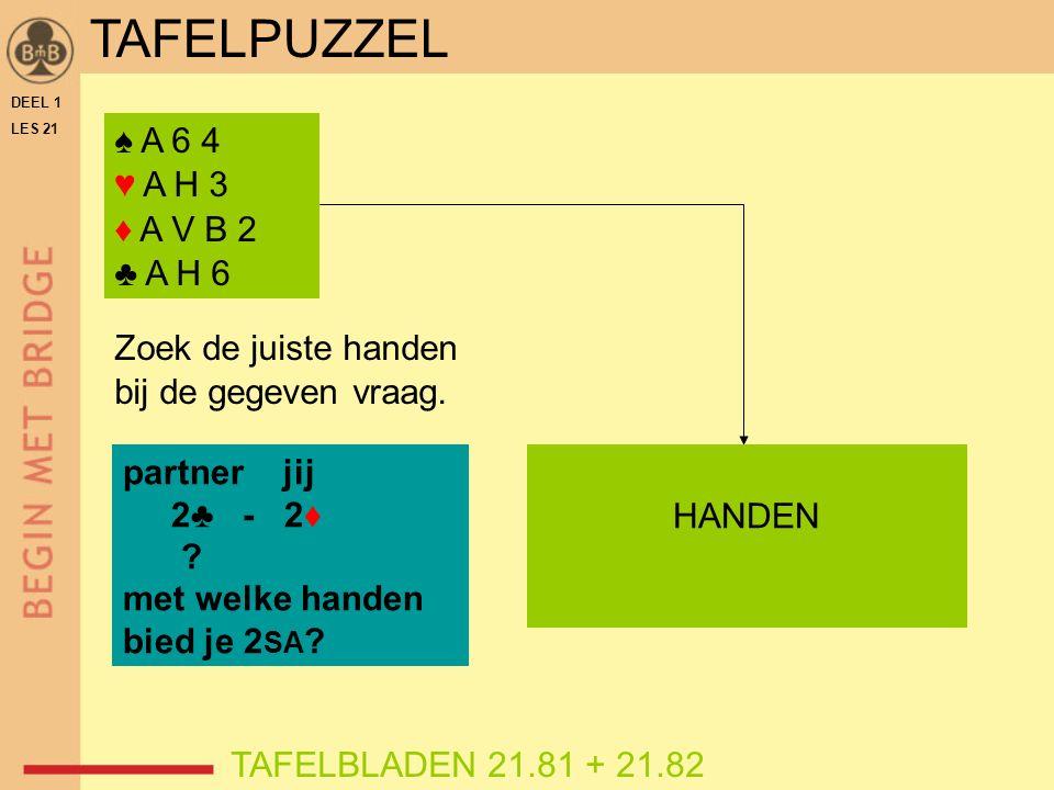 DEEL 1 LES 21 ♠ A 6 4 ♥ A H 3 ♦ A V B 2 ♣ A H 6 TAFELBLADEN 21.81 + 21.82 Zoek de juiste handen bij de gegeven vraag. partner jij 2♣ - 2♦ ? met welke