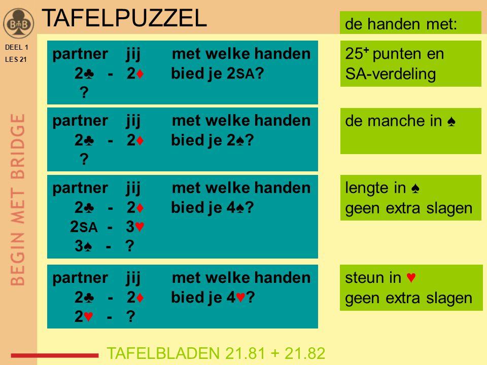 DEEL 1 LES 21 TAFELBLADEN 21.81 + 21.82 partner jij met welke handen 2♣ - 2♦ bied je 2 SA ? ? 25 + punten en SA-verdeling TAFELPUZZEL partner jij met