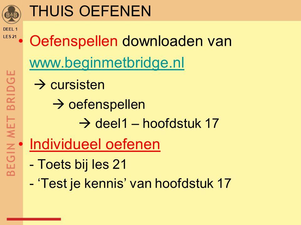 Oefenspellen downloaden van www.beginmetbridge.nl  cursisten  oefenspellen  deel1 – hoofdstuk 17 Individueel oefenen - Toets bij les 21 - 'Test je